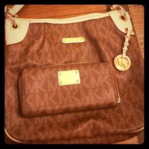 Authentic Micheal Kors MK Logo Brown/Tan Purse and